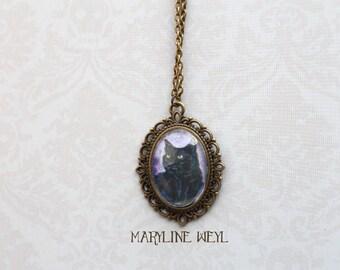 Necklace Cabochon black cat black