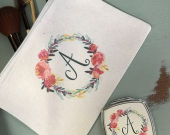 bridesmaid gift, personalized cosmetic case, proposal gift, personalized compact mirror, wedding gift, cosmetic case and mirror set