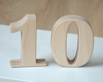 1-20 3'' Small Wooden Numbers, Free Standing Wedding Table Numbers for Decor, Stand Alone Cafe or Restaurant Table Numbers, Photo Props