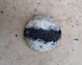 black and white raku ceramic pendant