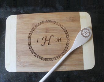 Personalized cutting board set, engraved cutting board set, monogram kitchen set, wedding present set, anniversary present set,birthday gift