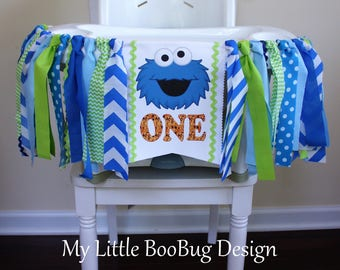 Cookie monster Inspired Highchair banner, 1st birthday boy, Cake Smash Photo Prop