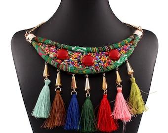 boho ethnic Fashion woven collar choker necklaces