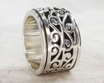 925 Sterling Silver Jali Work Meditation Spinner Ring- US Size 7 1/2 (UK & Aus: O 1/2)  #B205