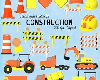 80% OFF SALE Construction Clipart, Commercial Use Digital Graphics, Traffic Clipart, Caution Sign Clipart