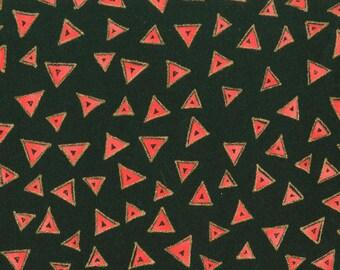 Triangles- Black/ Coral - Laurel Burch for Clothworks (Y0841-39M) Cotton Fabric Yardage