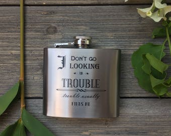 Stainless Steel Flask - Looking for Trouble Design 5oz