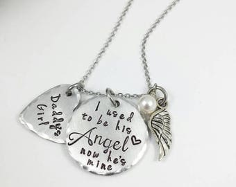 ON SALE I used to be his Angel, now he's mine,  Daddy's Girl Necklace, Remembrance Necklace, Loss, memory necklace, dad memory, loss, in mem