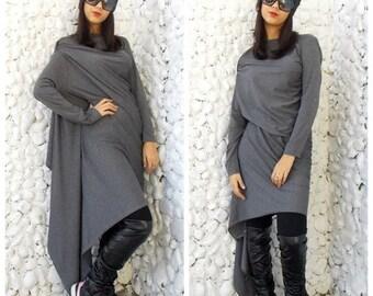 SUN SALE 25% OFF Asymmetric Dress / Long Extravagant Dress/ Grey Asymmetric Tunic / Loose Asymmetric Tunic Dress Tdk08