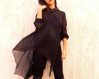 SALE 20% OFF Black Asymmetric Chiffon Tunic / Asymmetric Extravagant Blouse / Black Top Blouse TT16
