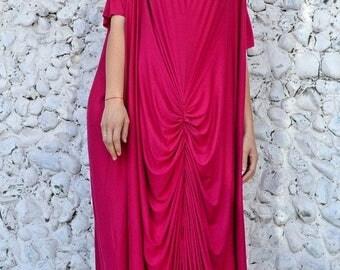 ON SALE Fuchsia Maxi Dress, Fuchsia Loose Kaftan, Extravagant Viscose Kaftan TDK237 by Teyxo