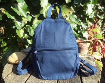 Blue canvas small backpack