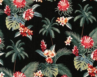 Island Paradise by Sevenberry for Robert Kaufman - Palm Trees and Flowers Black | PRE-ORDER Fabric | Quilting, Sewing, Home Decor Supplies