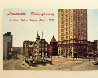 Vintage Postcard Lancaster PA Penn Square  Amish Country Pa Dutch