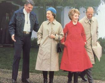 Postcard President Reagan with Queen Elizabeth  at Santa Barbara Ranch 1983
