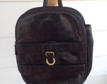 Vintage 90's Aurielle Shiny Black Leather Backpack Style Handbag Purse