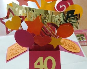 Card box birthday 3D - Celebrate! Balloons, stars