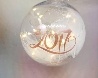 2017 personalised bauble with feathers and lights, shatterproof decoration, hanging ornament,  rose gold font, feather in bauble, decoration