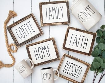 Rae Dunn Inspired Wood Sign-Word Sign-Coffee-Family-Faith-Home-Sign-farmhouse-Coffee Bar-Rustic-Rae Dunn display-Framed sign-Wooden-Kitchen