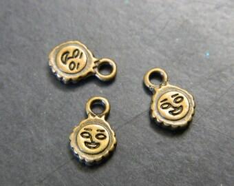 7MM Bronze Smiling Sun DIY Tab Charm Pendants - Bronze Toned Brass Smiling Sun Charms - Sun Charms - 10 Charms Per Order
