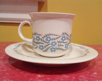 Four Arabia Finland Arctica Rosette Cups & Saucers and Creamer and Sugar Bowl