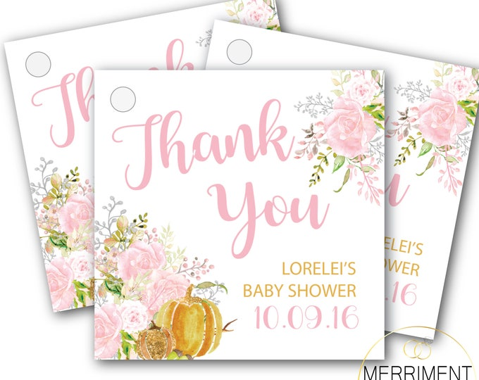 Fall Pumpkin Favor Tags // Thank you tags // Floral // Blush // Gold // Pink // Printed or Printable DIY // CARMEL COLLECTION