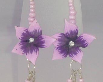 Purple flower dangle earrings with rose quartz