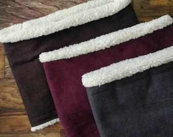 Sherpa lined cowl scarf - faux sherpa - grey, wine, brown scarf - herringbone scarf - sherpa - herringbone prints - soft scarf - sherpa cowl