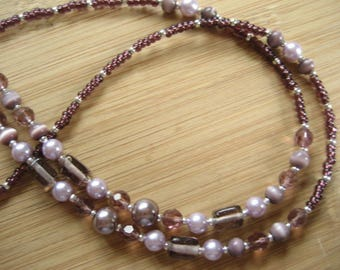 Eyeglass Chain, Spectacle Chain  for Reading Glasses. Lilac, Plum Glass Beads & Silver Beads, Sunglasses Keeper  Necklace, UK Handmade