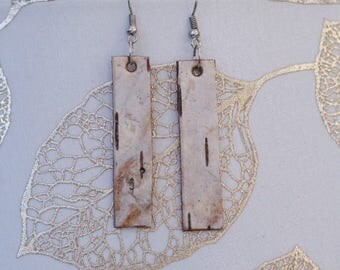 Long Earrings|Birch Bark|Natural Materials|Gift for Her|Bridal|Woodsy|Elegant|Handmade|Sustainably Harvested