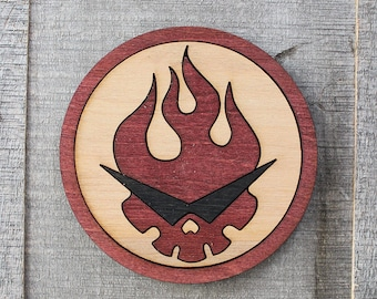 Gurren Lagann Wood Coaster | Rustic/Vintage | Hand Stained and Glued | Gainax | GRIT THOSE TEETH