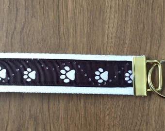 Dog Paws Key Chain Zipper Pull Wristlet