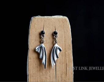 925 Silver dragon wings earrings stud drop dangle earrings 1 pair gothic costume