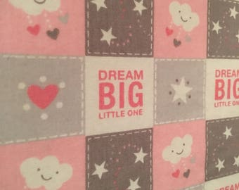 Pink and gray crib sheet, baby girl crib sheet, pink and gray nursery, Dream Big Little One, fitted crib sheet, toddler sheet