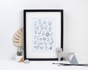 Alphabet Print - Toddlers Room - Baby Gift - New Baby - Wall Decor - Alphabet Illustrations - Kids Room - Baby's Room - ABC Print - Gift