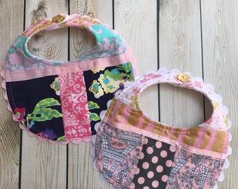 Upcycled Baby Girl Bibs. Baby Girl Bibs. Fabric Scrap Bibs.