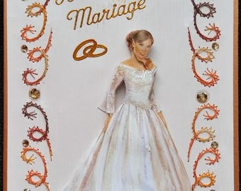 embroidered card, 3d glittery copper married suh