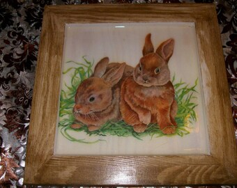 Two bunnies 2 pattern frame