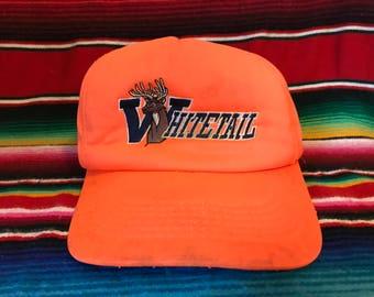 VTG Whitetail Hunter's Orange cap worn & loved snapback