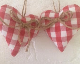 Laura Ashley Red Gingham - Hanging Hearts with Jute String