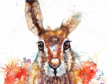 Original Watercolour Hare and Poppies Print by Artist Be Coventry Wildlife Animal Art