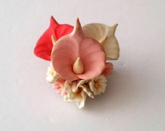 Vintage Silver Tone Resin Orchid Brooch