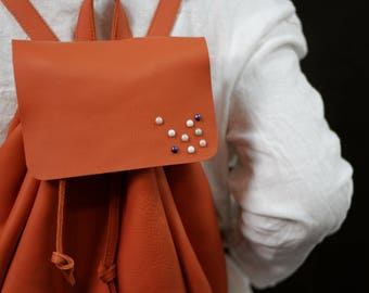 Handmade LEATHER BACKPACK with Ornamental Pebbles, Handcrafted Leather, Womens Backpack,