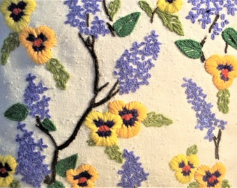 Vintage Hand Embroidered Pillow Case of Orange and Yellow Pansies