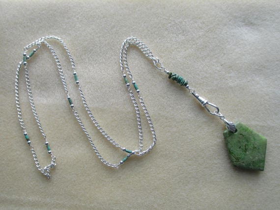 Green Turquoise Convertible Lanyard / ID Badge Necklace N112182
