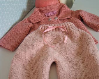 Jacket pink sailor's jacket and light pink pants knit in the garter stitch cuts 6/9 month