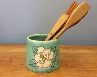 Handmade Utensil Holder. Magnolia Flower Deco. Glazed in Aqua. MA52