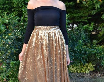 Summer Wedding Sale Retro style circle skirt in full sequins - custom made 'April' full pleated skirt with flat waistband street style spark