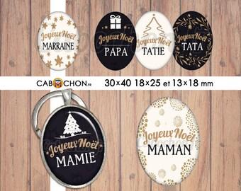 Joyeux Noël 14 • 45 Images Digitales OVALES 30x40 18x25 13x18 mm  famille maman mamie papy papa parrain marraine sapin etoile cadeau