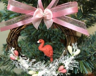 CIJ Christmas In July Flamingo Christmas Ornament Flamingo Decor Pink Christmas Ornament Bird Ornament Flamingo Christmas Handmade Ornament